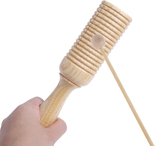 SELFON Single Wooden Agogo Guiro Tone Block Percussion with Beater/Musical/Instruments/Enlighten/Toy For kid Children Toddler Gift