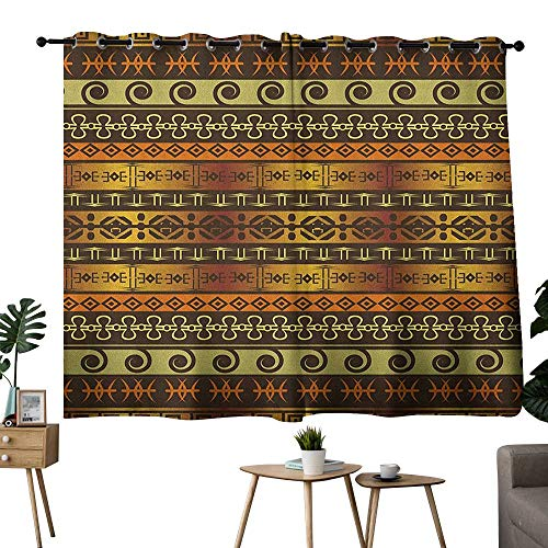 bybyhome Zambia Grommets Family Darkening Curtains Ethnic Ornamental Abstract Heritage Traditional Ceremony Ritual Image Curtain Decoration Gold Dark Brown Orange W55 x L63