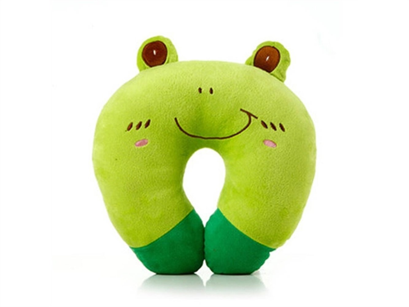 Yuchoi Perfectly Shaped Cartoon Animal U-shaped Neck Pillow Travel Car Airplane Seat Neck Rest for Home Office(Frog)