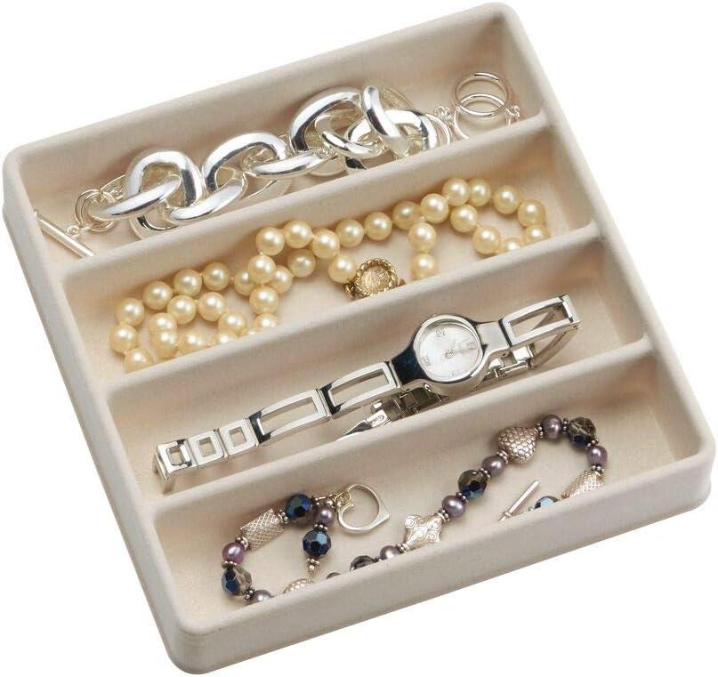 Ivoire//Transparent boucles doreilles mDesign Rangement pour bijoux colliers bracelets lot de 2 bagues