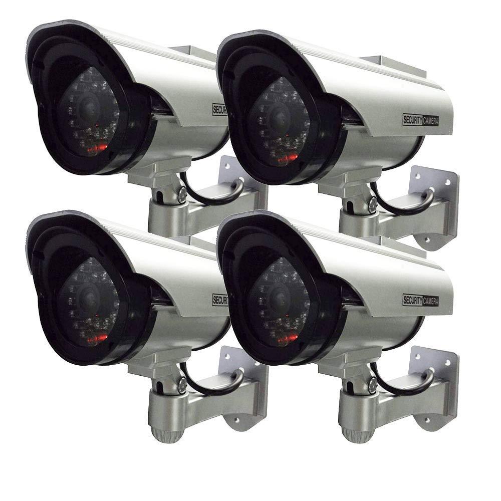 Henxlco 4Pack Dummy Solar Security Camera Fake Flashing Light Infrared LED CCTV Surveillance by Henxlco
