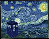 Doctor Who Starry Night Poster Large, Van Gogh Tardis on a Starry Night, 20 X 30