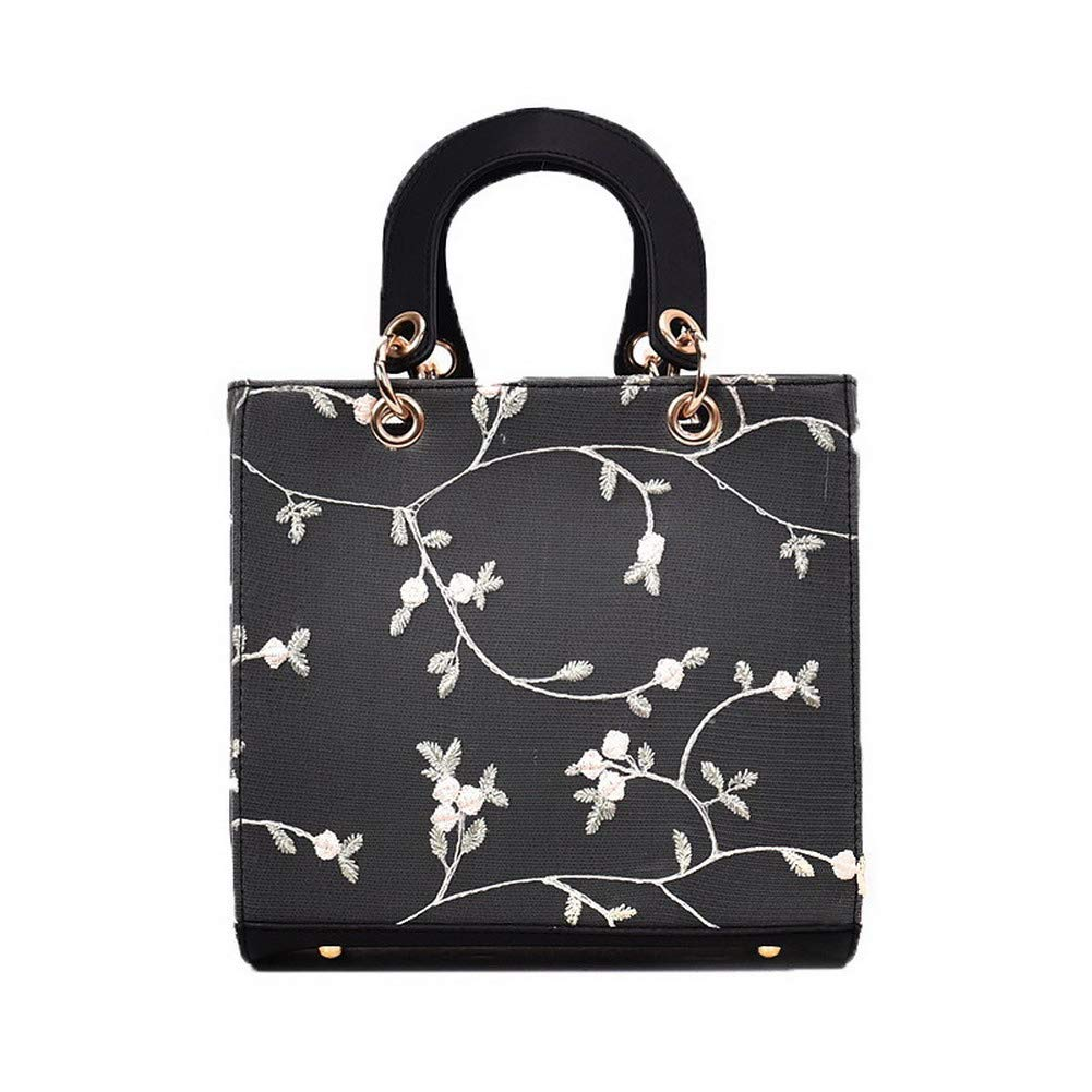 Black WeiPoot Women's Fashion Tote Bags Pu Flowers Crossbody Bags,EGHBG182395