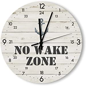 Round Wood Wall Clock Home Decor,No Wake Zone Anchor 24 Hour Time Nautical Large Clock Pattern Wood Wall Clock, Battery Operated, no ticking sound, for home, the Kitchen, Living Room, Bedroom, Restaur