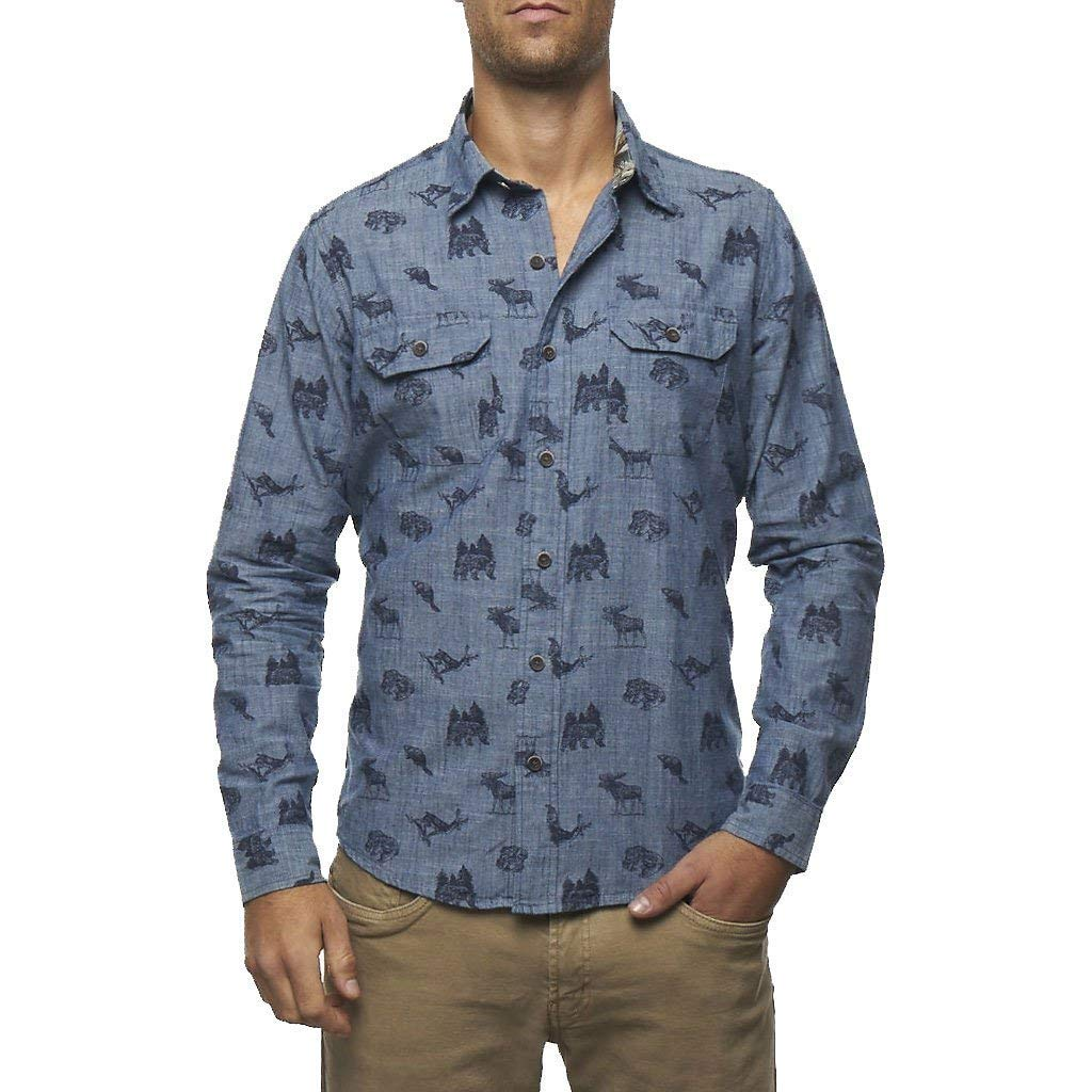 Medium Wash Tailor Vintage Mens Woodland Print IND Chambray Shirt 3772309-MED