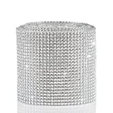 Naler 10 Yard Diamond Style Spot Ribbon, 24 Rows Sparkling Spot Ribbon Trim Wrap Strap Roll for Wedding Birthday Decoration, Baby Shower Event, Art Craft Projects, Silver
