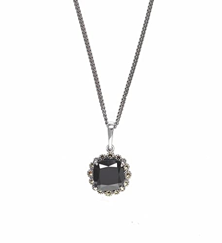 Esse Marcasite Sterling Silver Square Cushion Cut Black Spinel and Marcasite Pendant of 45.5cm Chain 5cm Extender 4wXl6D2qN