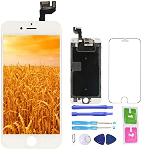 Screen Replacement for iPhone 6S White Kit LCD Display and Touch Screen Digitizer for A1633, A1688, A1700 w/Proximity Sensor, Ear Speaker, Front Camera and Repair Tools
