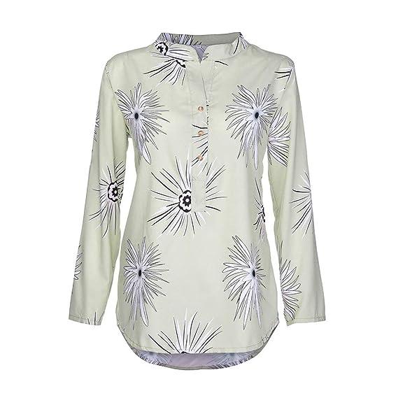 Mujeres Tops Rovinci Mujer Cómodo De Moda Casual Collar del Soporte Botón Impreso Mangas largas Talla Extra Tops Suelto Camisa Blusa para Mujeres: ...