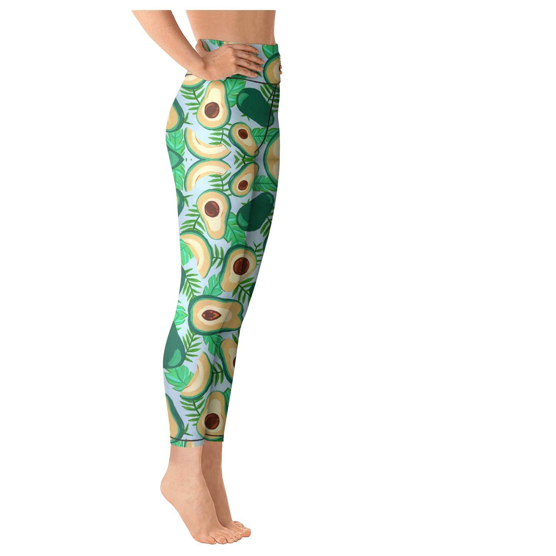 Avocado Tomato Green Background Women High Waist Yoga Pants Stretchy Leggins Patterned Leggings