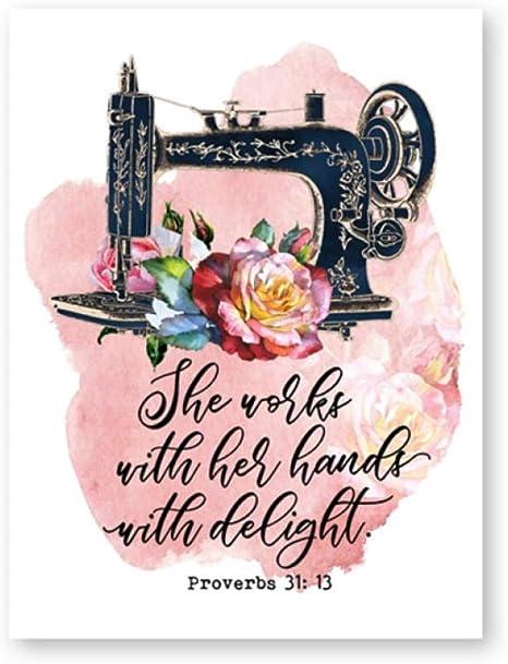 xwwnzdq Máquina de Coser Vintage Proverbios 31:13 Carteles e ...