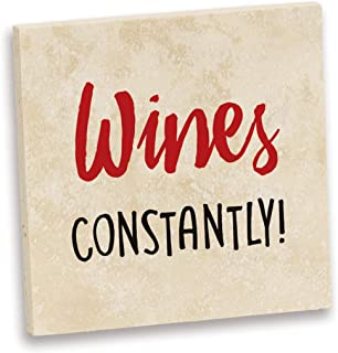 product image for Imagine Design Relatively Funny Wines Constantly Travertine Coaster, One Size, Red/Black/White
