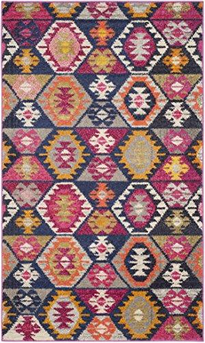 Safavieh Monaco Collection MNC218F Modern Geometric Bohemian Multicolored Distressed Area Rug (3' x 5') (Safavieh Durable Hard Surface And Carpet Rug Pad)
