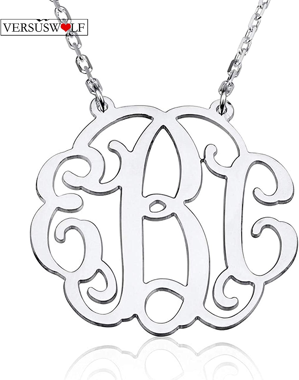 VERSUSWOLF 925 Sterling Silver Personalized Monogram Necklace Custom Made with Any Initials
