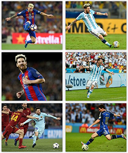 Lionel Messi Poster Collection - The Great member of Club Barcelona and Team Argentina in our Soccer Wall Art Series - Set of 6 8x10 - Argentina Collection