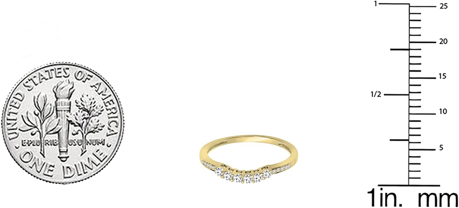 ctw Dazzlingrock Collection 0.24 Carat 14K Gold Round Diamond Ladies Wedding Stackable Band Guard Ring 1//4 CT