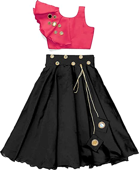 Buy Stripe Fashion Girl S Crepe Silk Crop Top Lehenga Choli Pink And Black 12 13 Years At Amazon In