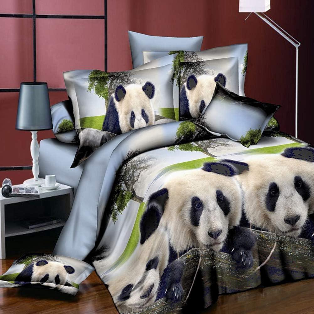 RONSHIN Home 4Pcs//Set 3D Animal Pattern Printing Quilt Cover Pillowcases Bed Sheet Bedding Set Panda Decoration