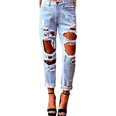 50b2aa6229 Sville Mary Hole Ripped Jeans Woman Skinny Denim Jeans Femme Slim Ripped  Pencil Pants Blue S