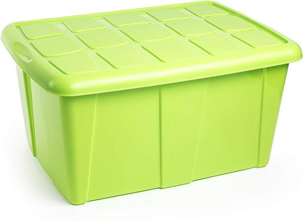 PLASTIC FORTE, Caja de almacenamiento, Verde, 60 litros, sin ruedas: Amazon.es: Hogar