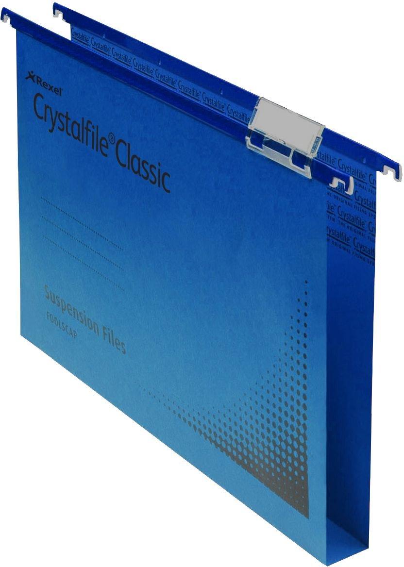 Rexel Crystalfile Classic - Carpeta colgante mm), (cartón, base 15 mm), colgante 50 unidades, color azul 6d8e10