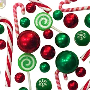 Floating Christmas Holiday Candyland: Green & Red Pearls, Acrylic Lollipops & Candy Canes, and Festive Gems -Jumbo/Assorted Sizes Vase Decorations & Table Scatter + Includes Transparent Water Gels