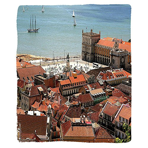 VROSELV Custom Blanket European Cityscape View Of Central Lisbon Portugal With Rooftops And Sea Old Town Nostalgic City Deco Soft Fleece Throw Blanket Multi
