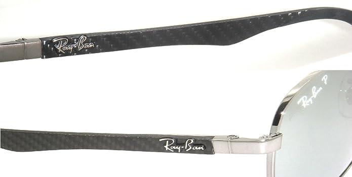 Ray-Ban Carbon Fibre RB 8313 004/k6 61mm Shiny Gunmetal / Blue Mirror Polarized