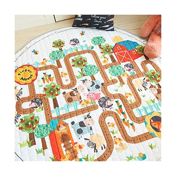 LISIBOOO Cartoon Kids Play Rugs,Toys Storage Organizer Cotton Large Floor Mat,for Baby Girl Boy Bedroom Living Room Nursery Children Crawling Blanket,5 Feet Round Carpet (Animal Maze)
