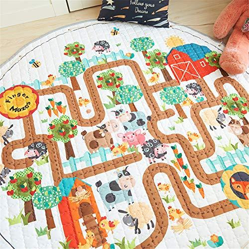 LISIBOOO Cartoon Kids Play Rugs,Toys Storage Organizer Cotton Large Floor Mat,for Baby Girl Boy Bedroom Living Room Nursery Children Crawling Blanket,5 Feet Round Carpet (Animal Maze)