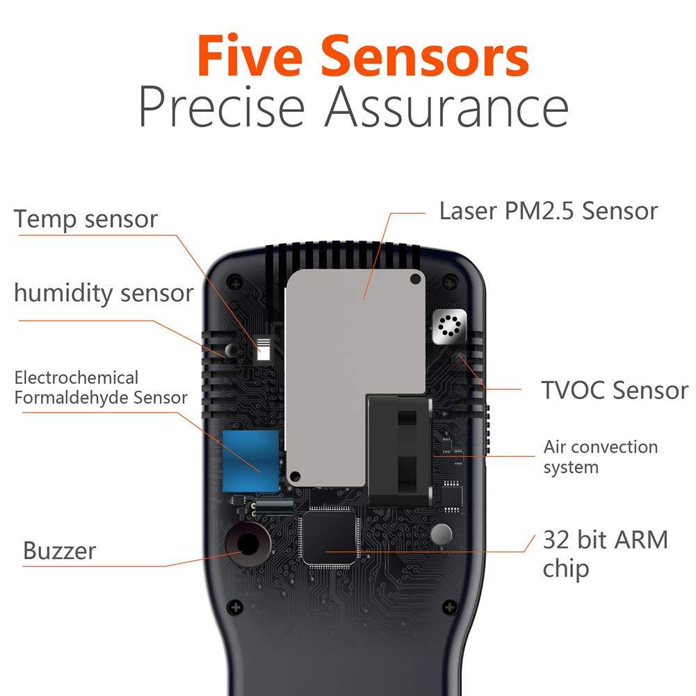 LDRAGON Detector del formaldehído del Monitor de la Calidad del Aire (HCHO), analizador de Gas multifunción de la Alta precisión TVOC/API con la exhibición ...