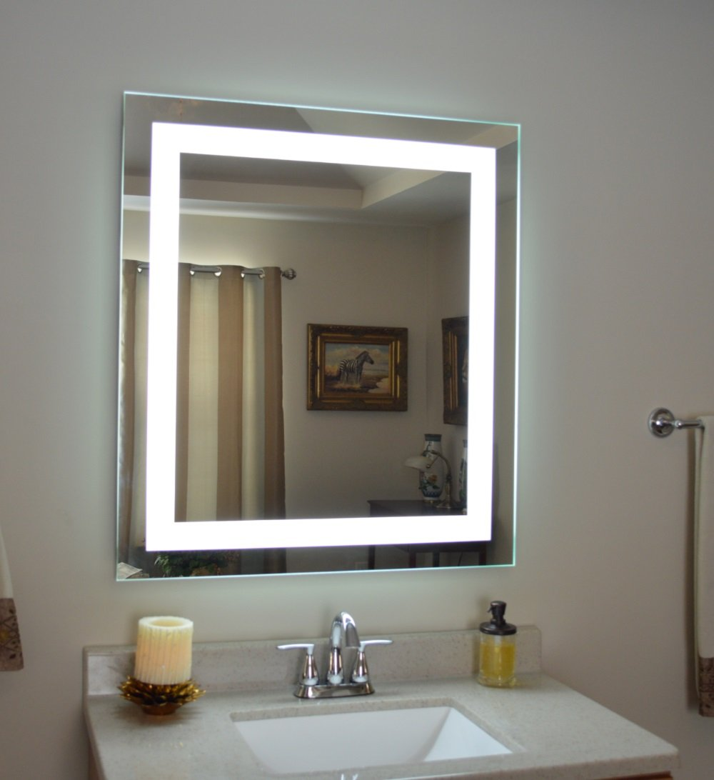 Bathroom Mirrors With Led Lights. Amazon Com Wall Mounted Lighted Vanity Mirror Led Mam83632 Commercial Grade 36 Wide X 32 Tall Home Kitchen