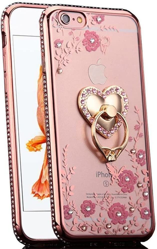 iPhone 6S Plus Case, CaseUp Glitter Crystal Heart Floral Series - Slim Luxury Bling Rhinestone Clear TPU Case With Ring Stand For iPhone 6S/ 6 Plus (5.5 Inch)