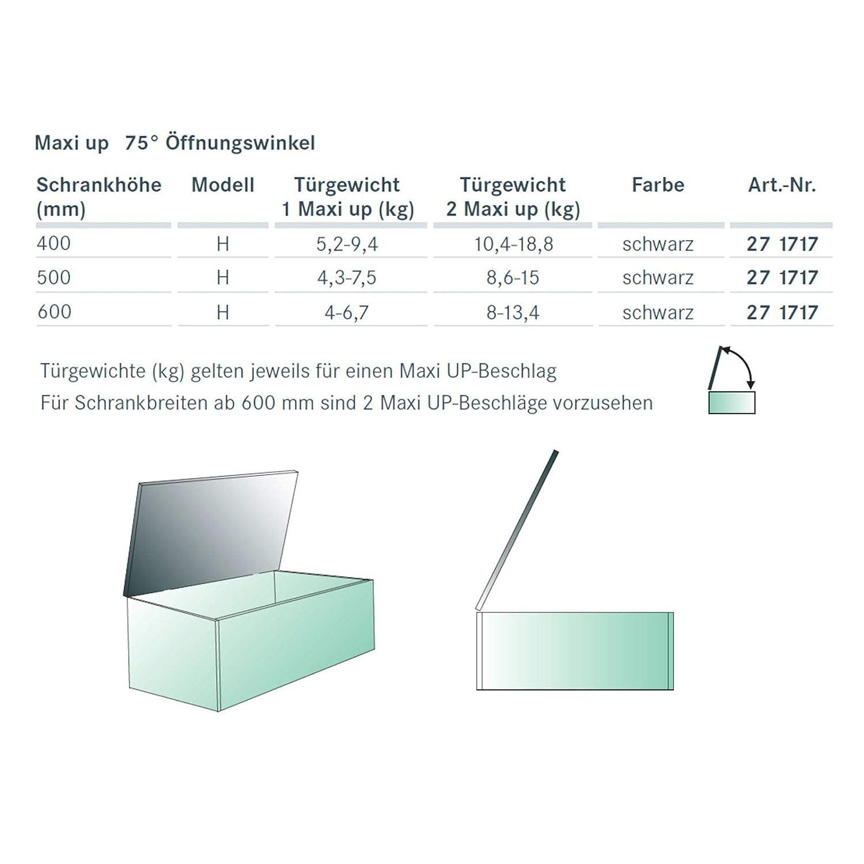 SO-TECH/® Maxi UP Herraje de elevaci/ón para ba/úles//Altura del armario 400-600 mm