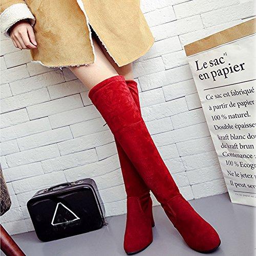 BERTERI Black Brown Grey Over Women's Winter Red Warm High Boot Heeled Knee Red zqzrTxwU
