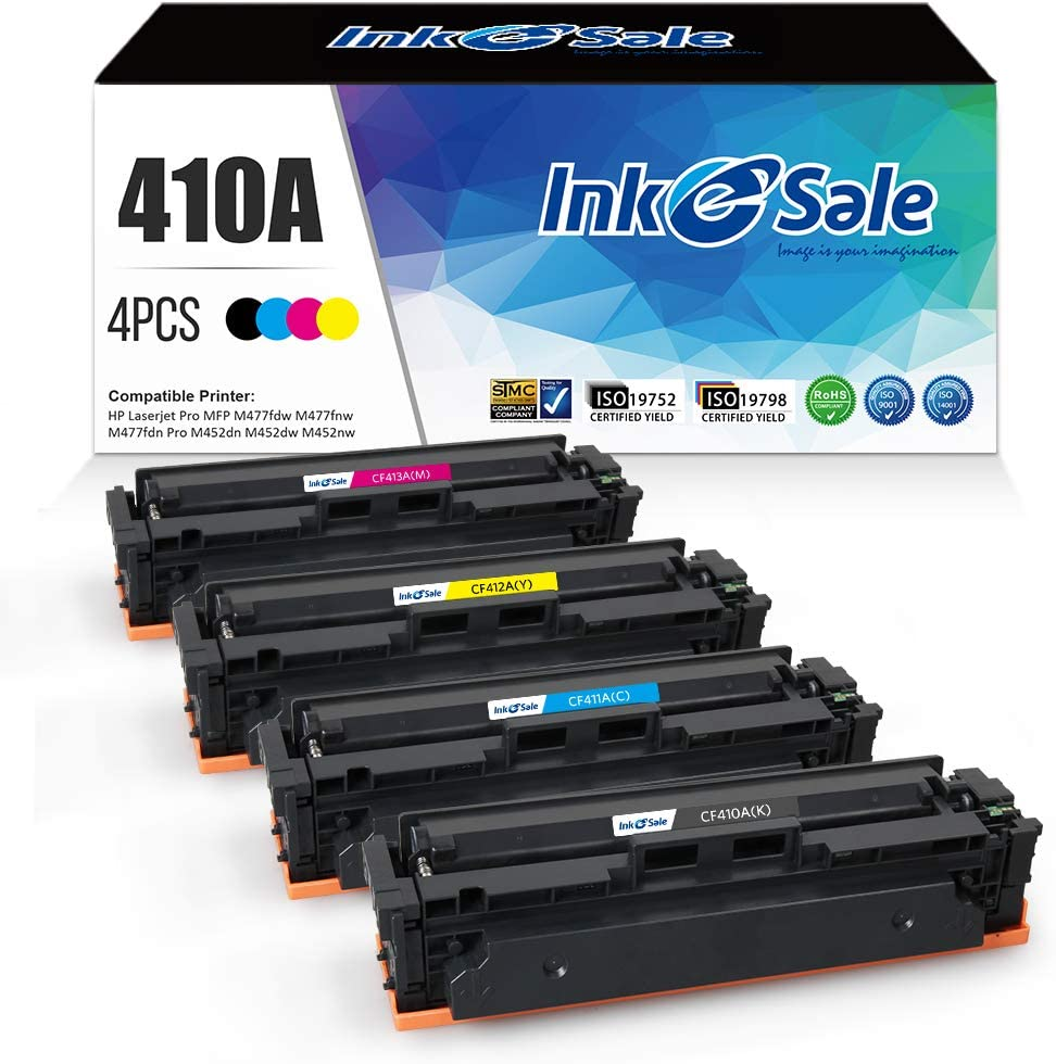 INK E-SALE Compatible Toner Cartridge Replacement for HP 410A CF410A 410X CF410X (4-Packs)for use with HP Color LaserJet Pro MFP M477fdw M477fdn M477fnw M452dn M452dw M452nw
