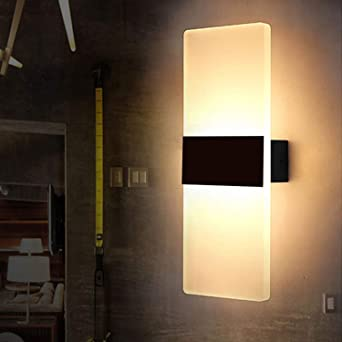 CZ 6W LED Luces de Pared Interior Salón Lámpara de Pared Moderna Acrílico Decorativo Iluminación de Pared para Dormitorio Cocina Camino Corredor Escaleras Balcón Dormitorio, Blanco Cálido (3000K): Amazon.es: Iluminación