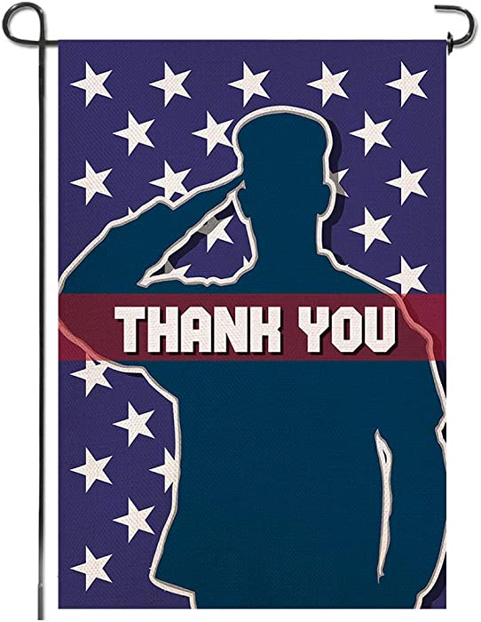 Shmbada Thank You Burlap Garden Flag Double Sided Vertical Patriotic Yard Lawn Outdoor Decorative for Memorial Day and Fourth of July 12.5x18.5 inch