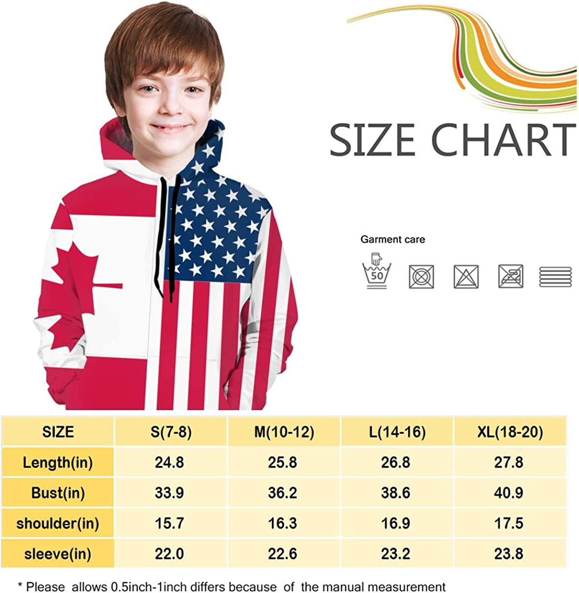 NTQFY American and Canada Flag Kids Hoodie Soft Hooded Sweatshirt Loose Pull Over Hoodie