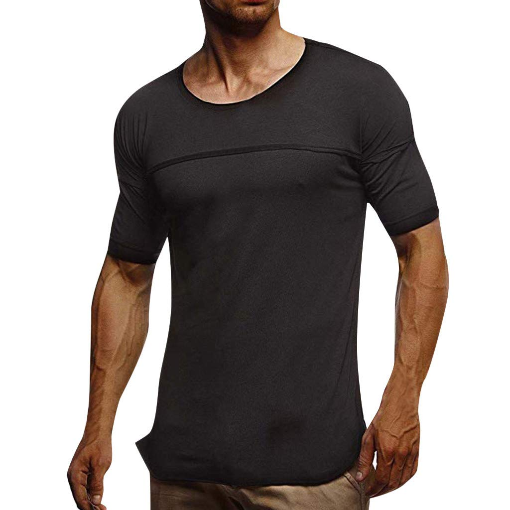 Men's Shirt Short Sleeve Summer Fashion Comfort Solid Color T-Shirt Top Blouse Black