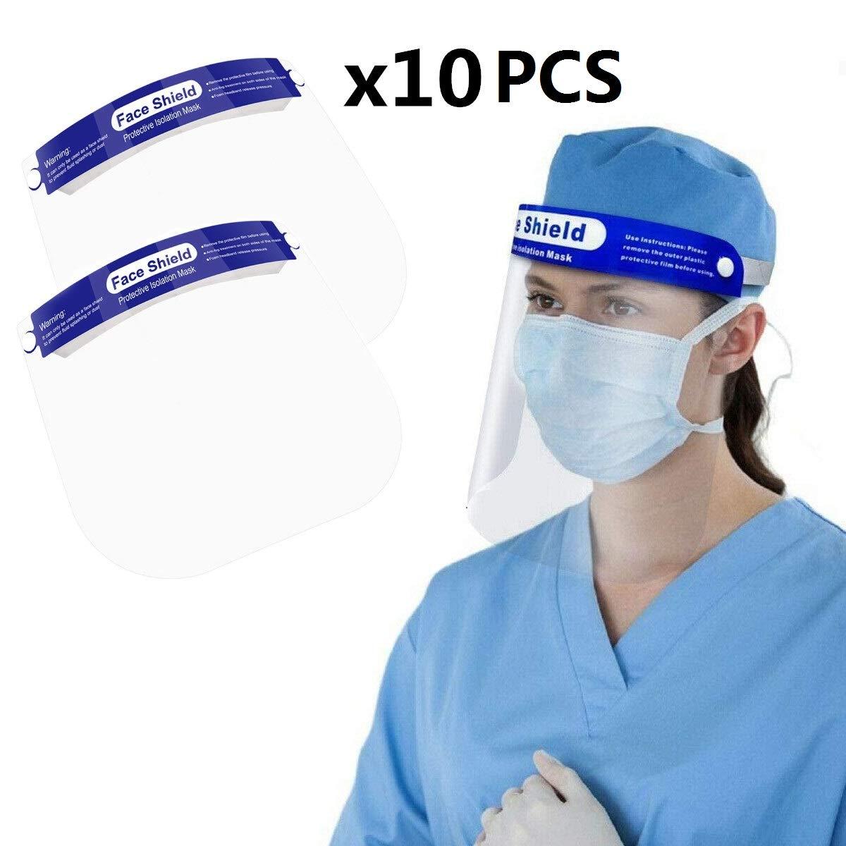 SGODDE 10 Pcs Protector Facial de Seguridad, Viseras de Seguridad facial reutilizable transparente de cara completa, Viseras Lente Facial Ajustable Ligera Antivaho, Aantipolvo y Evitar la Saliva