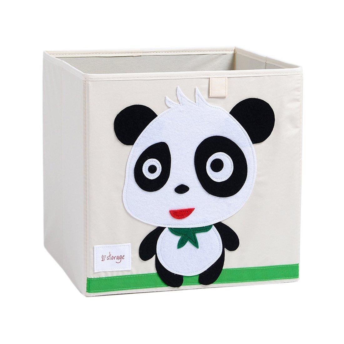 Vmotor Foldable Animal Canvas Storage Toy Box/Bin/Cube/Chest/Basket/Organizer For Kids, 13 inch(Panda)