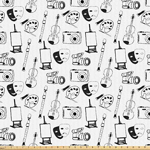 Lunarable Sketch Fabric by The Yard, Classic Fine Arts and Objects Theater Masks Violin Flute Photo Camera Easel, Microfiber Fabric for Arts and Crafts Textiles Decor, 1 Yard, White and Black from Lunarable