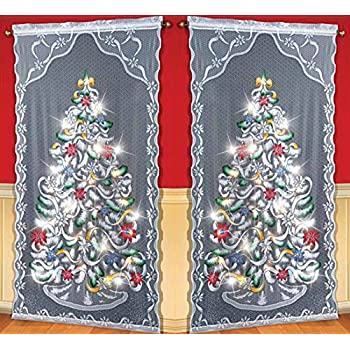 set of 2 decorative led lighted christmas tree window sheer curtain panel holiday home accent decor
