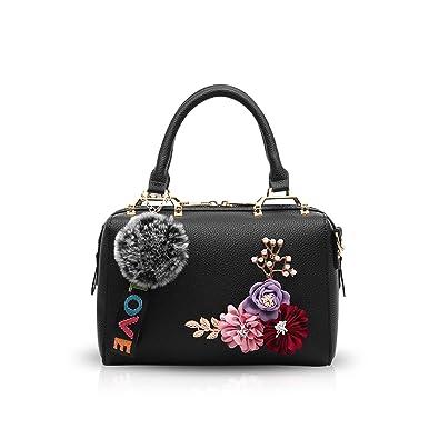 ec1d998050ad NICOLE & DORIS Women's PU Shoulder Bag with Pompom (Black): Amazon ...