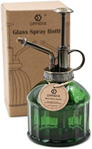OFFIDIX Glass Plant Mister, 6.3 Inches Tall Vintage Style Spritzer Bronze Plastic Top Pump One Hand Watering Can Indoor Plant Spray Bottle for Garden, Plants, Cleaning (Dark Green)