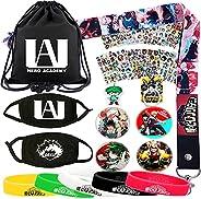 My Hero Academia Bag Gift Set - 1 MHA Drawstring Bag Backpak, 12 Sheet Stickers, 1 Lanyard, 1 Mouth Mask, 1 Ke