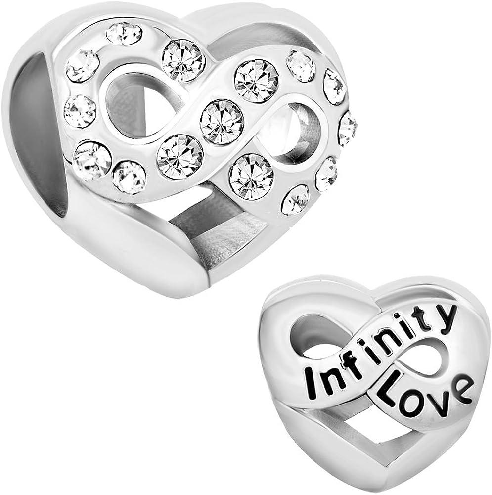 Korliya Infinity Heart Love Charm Bead For Bracelet
