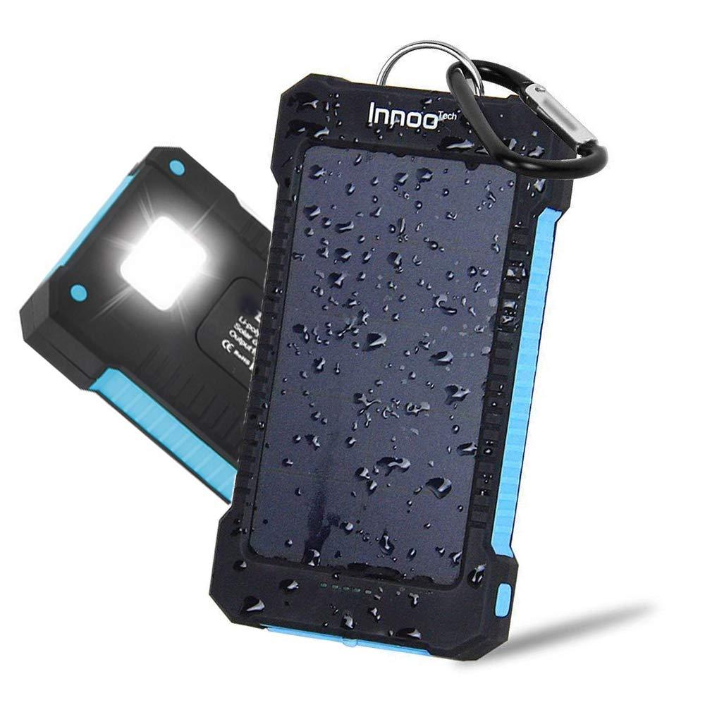 Innoo Tech Cargador Solar 10000mAh, Power Bank portátil con Batería Externa y Protección IP65(a Prueba de Golpes,Agua,Polvo), Indicadores y Linterna...