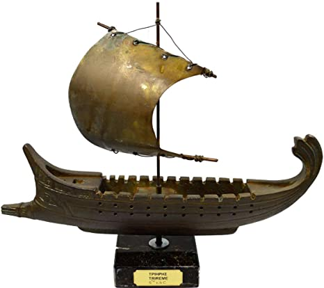 Handcrafted Model Ship Cold Cast Bronze TRIREMES GREEK WARSHIP